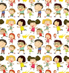 Seamless children playing and doing activities vector image