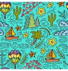 Seamless pattern with cactus palm trees ship vector