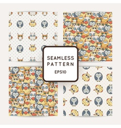 Set of random owls seamless patterns Cute nignht vector image vector image