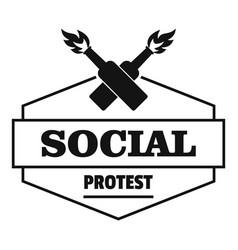 Social protest molotov cocktail logo simple black vector
