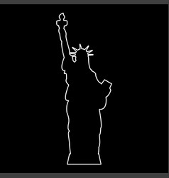 Statue of liberty white color path icon vector