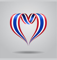 Thai flag heart-shaped ribbon vector