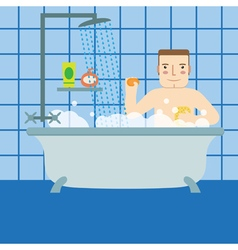 The man in the bathroom taking a shower vector
