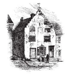 Tile house vintage vector