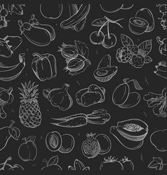 white doodle vegetables and fruits isolated on vector image vector image