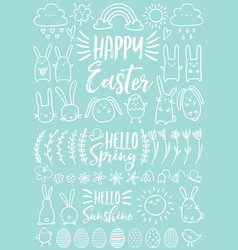 white easter doodles set vector image