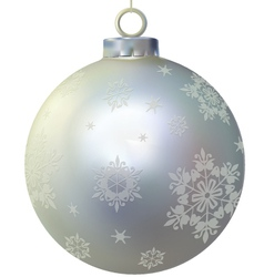 Xmas silver glass ball decorated by snowflakes vector