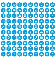 100 restaurant icons set blue vector