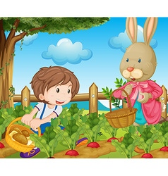 Kid and bunny picking out vegetables vector