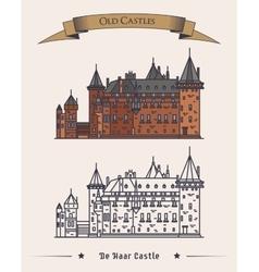 Architecture of de haar castle in netherlands vector