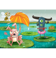 Monsters and water vector