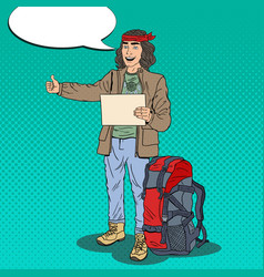 Pop art hitchhiking man hipster with backpack vector