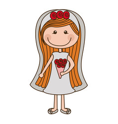 Colorful caricature woman in wedding dress with vector