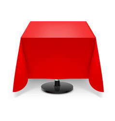 Square dining table with red tablecloth and round vector