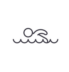 swimming flat line  concept vector image
