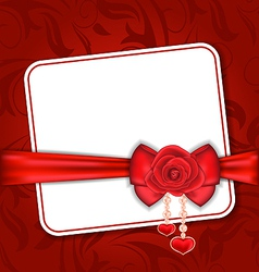Beautiful card for Valentine Day with red rose and vector image