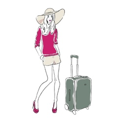 sketch fashion woman with bag vector image
