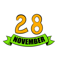28 november date icon cartoon vector
