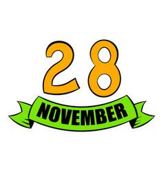 28 november date icon cartoon vector image vector image