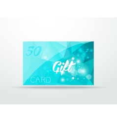 Gift greeting card aqua blue glitter with shine vector