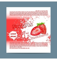 Template candy packaging strawberry sweets vector