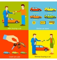 Man buying a car woman buying a car online car vector