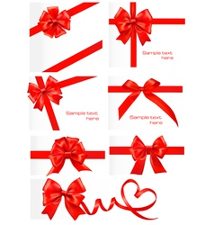 Red gift ribbons vector
