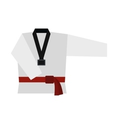 Kimono and martial arts red belt flat icon vector