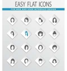 Woman silhouettes icons set vector