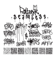 Big set of seamless patterns graffiti style vector
