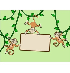 Three monkey with blank sign vector