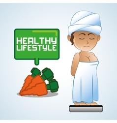 Healthy food design healthy lifestyle icon flat vector