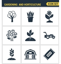 Icons set premium quality of gardening and vector