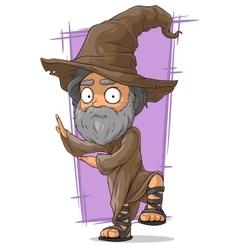 Cartoon old wizard in big hat vector