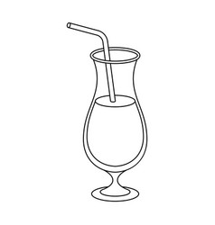 A cocktail in a glass with a straw drink for vector