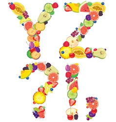 Alphabet from fruit XZ vector image vector image