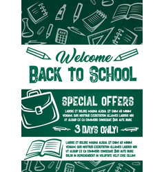 Back to school sale chalkboard poster vector