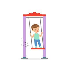 Cartoon little boy standing on swing kid playing vector