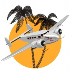 cartoon retro airplane vector image vector image