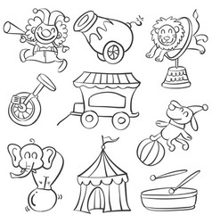 collection elementcircus doodle style vector image vector image