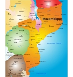 Color map of mozambique country vector