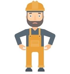 Depressed caucasian builder in hard hat vector