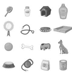 Dog care icons set monochrome style vector
