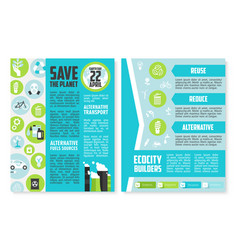Earth day brochure or poster template design vector