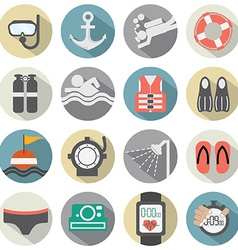 Flat Design Diving Icon Set vector image vector image