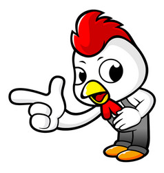 Funny chicken character suggests the direction vector