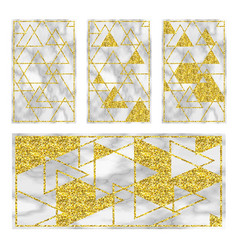 Marble black background with golden geometry vector