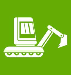 Mini excavator icon green vector