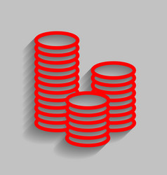 Money sign red icon with vector