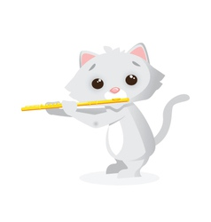Musical animals Kitty flute vector image vector image